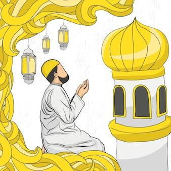 Ramadan kareem mit handgezeichneter islamischer illustrationsverzierung