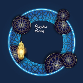 Ramadan-kareem mit islamischem verzierungshintergrund