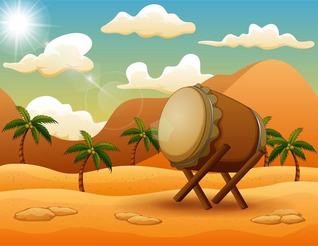 Ramadan kareem mit islamischer trommel auf der wüste