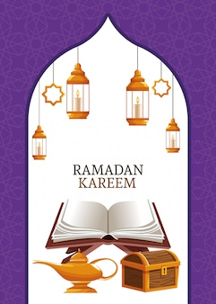 Ramadan kareem mit koran und brust