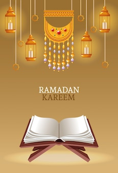 Ramadan kareem mit koran und lampen
