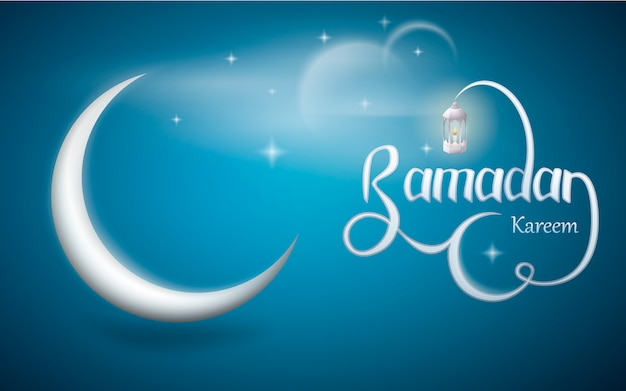 Ramadan kareem mit laterne und halbmond.