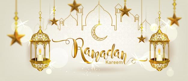 Ramadan kareem mit luxuriösem halbmond aus halbmondgold