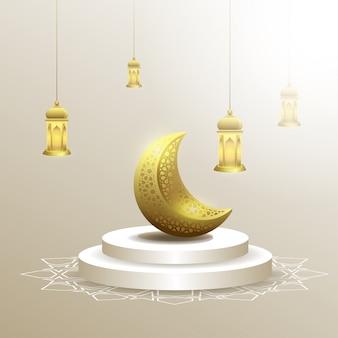 Ramadan kareem mit mond- und laternenhintergrund