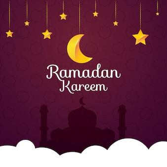 Ramadan kareem mit mond und stern