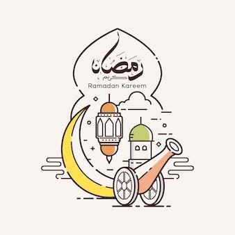 Ramadan kareem mit strichzeichnungen designillustration