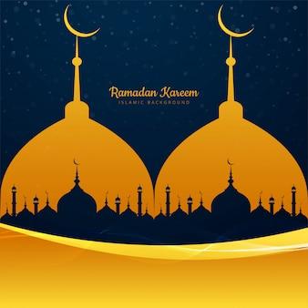Ramadan-kareem-moschee mit kreativem hintergrund der welle