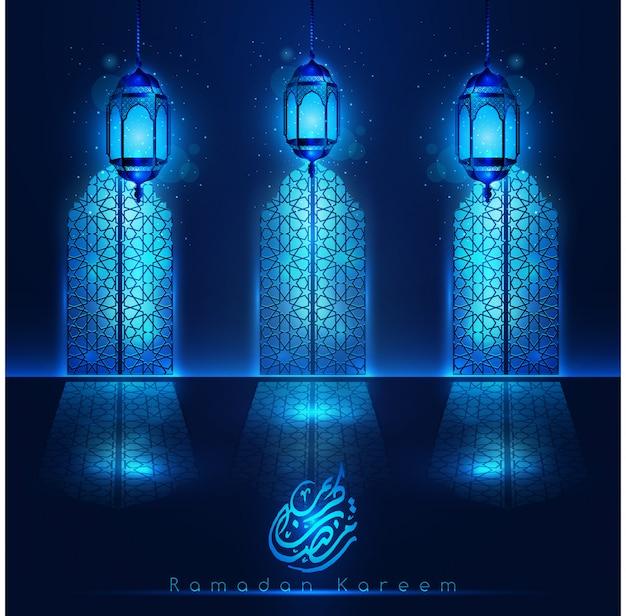Ramadan kareem moscheentüren mit hellblauen laternen und muster