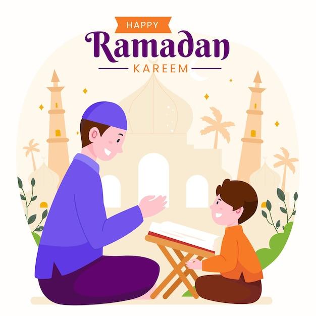 Ramadan kareem mubarak mit einem mann, der seinem sohn während des fastens den koran lehrt,