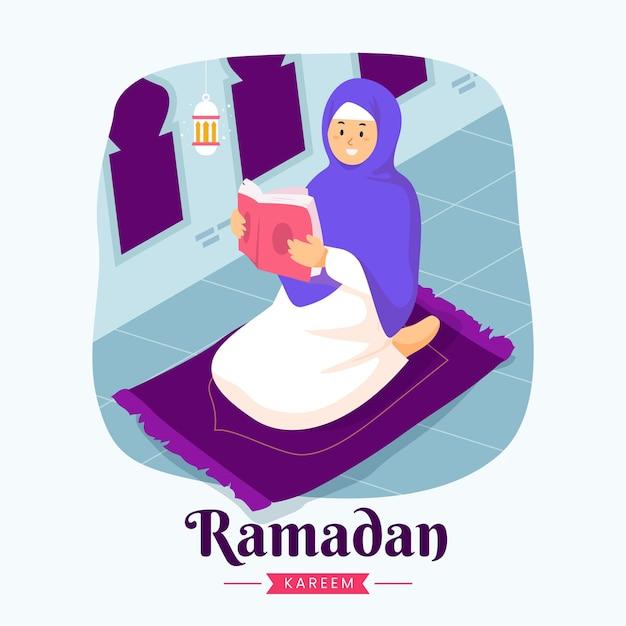 Ramadan kareem mubarak mit frau, die koran während des fastens liest,