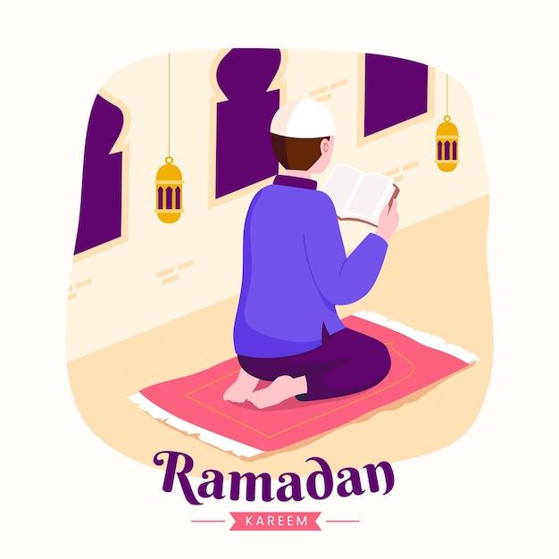 Ramadan kareem mubarak mit mann, der koran während des fastens liest,