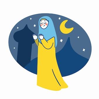 Ramadan kareem muslimische frau asset template illustration