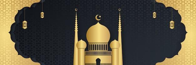 Ramadan kareem oder eid mubarak banner mit halbmond und moschee