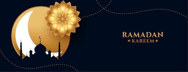 Ramadan kareem oder eid mubarak feiertagsbanner im goldenen thema