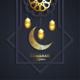Ramadan kareem oder eid mubarak grußkarte islamisch mit gold gemustert auf papierfarbhintergrund