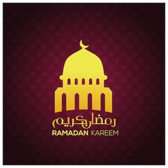 Ramadan kareem orange moschee auf muster hintergrund