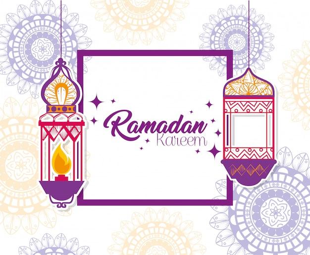 Ramadan kareem poster mit hängenden laternen