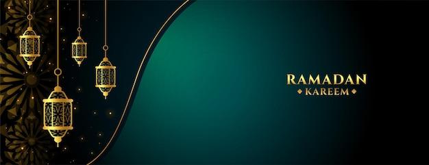 Ramadan kareem schönes islamisches fahnenentwurf