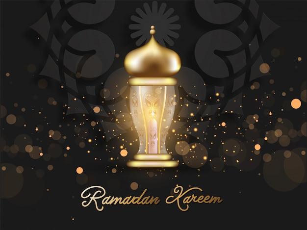 Ramadan kareem schriftart mit goldener beleuchteter laterne und bokeh lichteffekt auf schwarzem hintergrund.