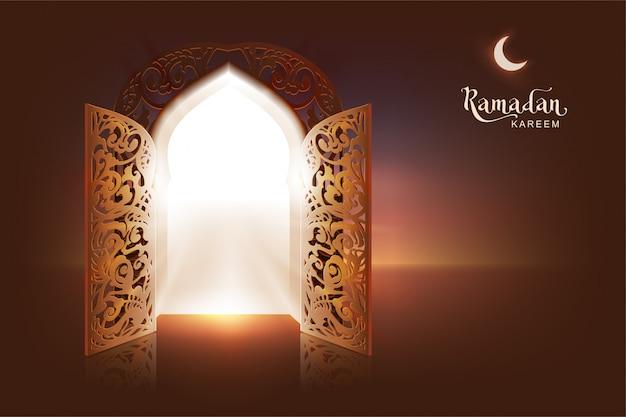 Ramadan kareem schriftzug text grußkarte. offene tür zu moschee und mond