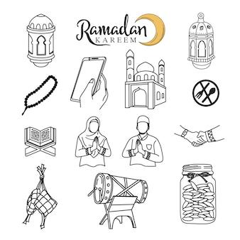 Ramadan kareem skizze set symbol umriss stil