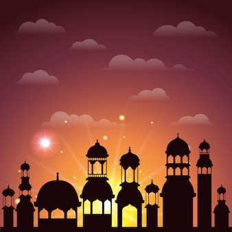 Ramadan-kareem stadtbild-schattenbildszene