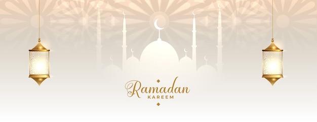 Ramadan kareem traditionelles islamisches banner Kostenlosen Vektoren