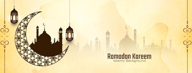 Ramadan kareem traditionelles islamisches festival religiöser hintergrundvektor