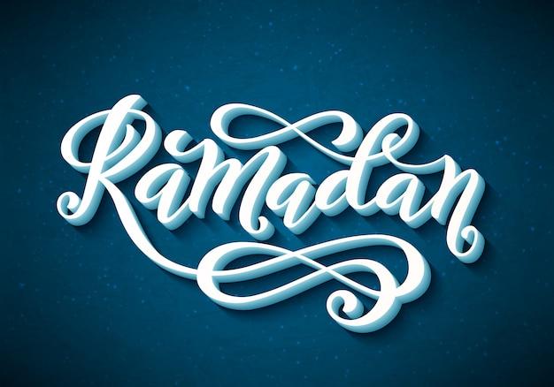 Ramadan kareem typografie mit handgezeichneter beschriftung