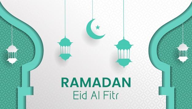 Ramadan kareem und eid al fitr hintergrundpapierkunst oder papierschnittart