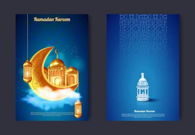 Ramadan kareem und eid mubarak begrüßen banner für muslimische religiöse feiertage