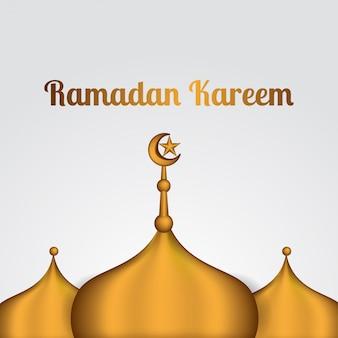 Ramadan kareem und mubarak mit moschee mit goldenem dach