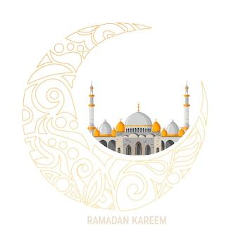 Ramadan kareem-vektorgrußkartenplan mit moschee, minaretten, arabischen glänzenden lampen und dekorativem dekor.