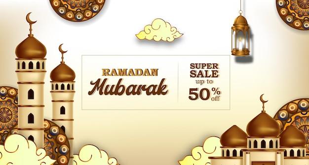 Ramadan kareem verkauf banner mit 3d luxus goldene moschee und laterne fanoos Premium Vektoren
