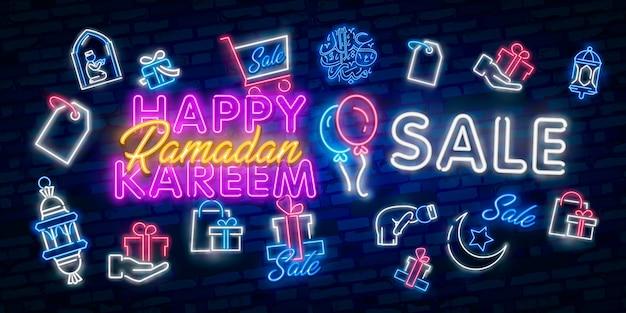 Ramadan kareem verkauf bieten neon banner sammlung