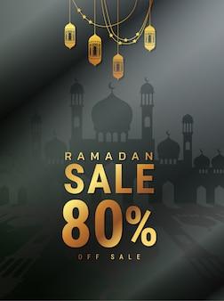 Ramadan kareem-verkaufsangebot-fahnendesign mit verzierungslaternen-mondhintergrund