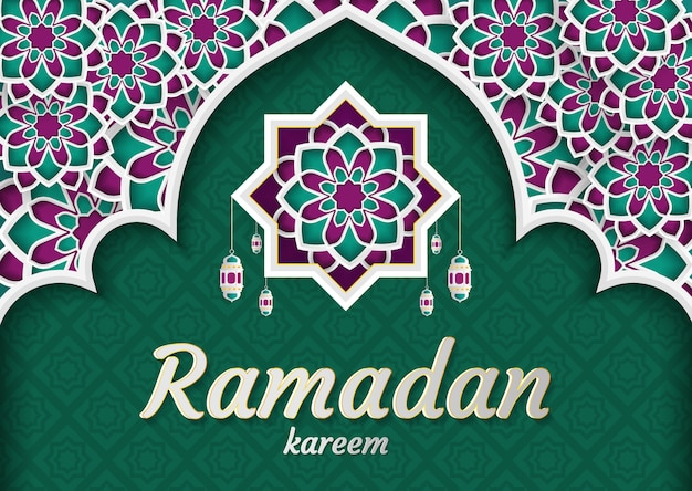 Ramadan kareem von einladungen entwerfen papierschnitt islamisch. vektor-illustration