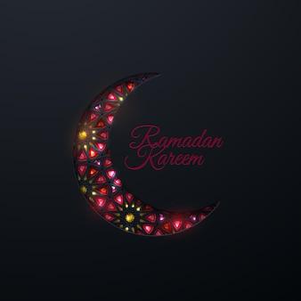 Ramadan kareem zeichen und papier geschnittener halbmond mit traditionellem arabischen muster und edelsteinen