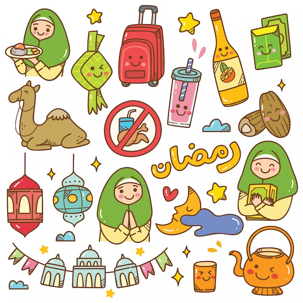 Ramadan kawaii gekritzel