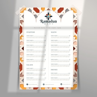 Ramadan-menüvorlage im papierstil