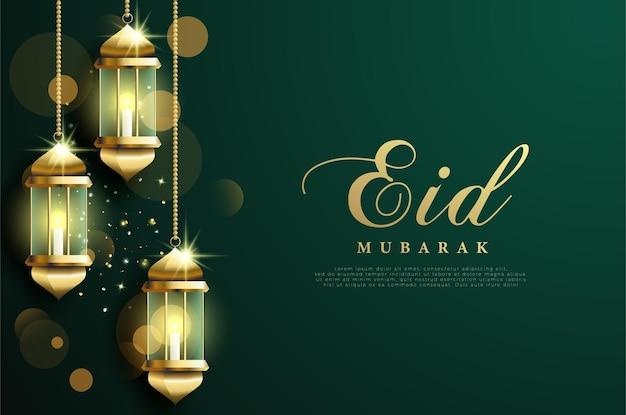 Ramadan mit 3 lichtern links.
