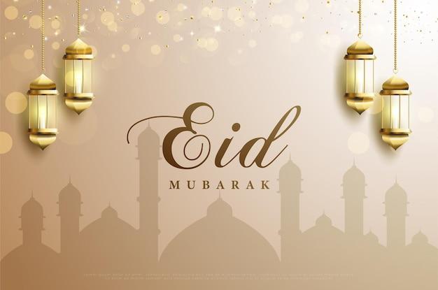 Ramadan mit bokeh- und glitzereffekten.