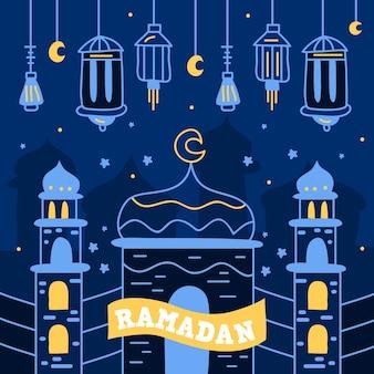 Ramadan mit laternen und palast