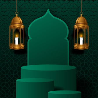 Ramadan mit zylinderpodest mit hängender goldener luxuslaterne