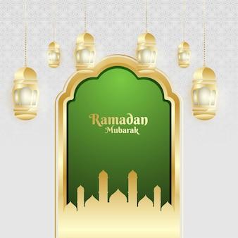 Ramadan mubarak feier design mit realistischen laternendekorationen und goldenen türen