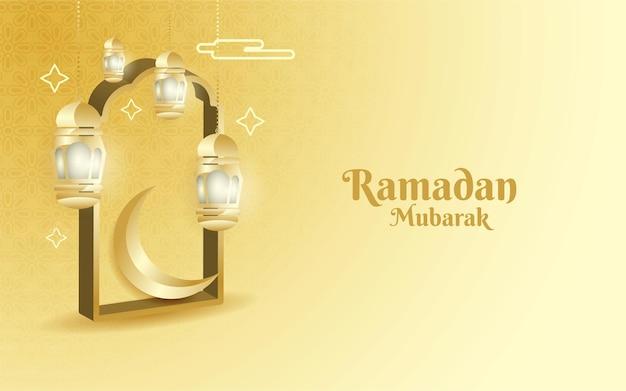 Ramadan mubarak feierentwurf in einem eleganten 3d-stil
