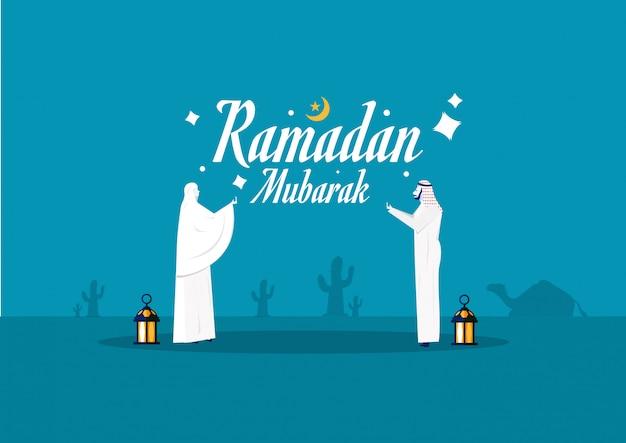 Ramadan mubarak gebetskonzept mit personencharakterillustration