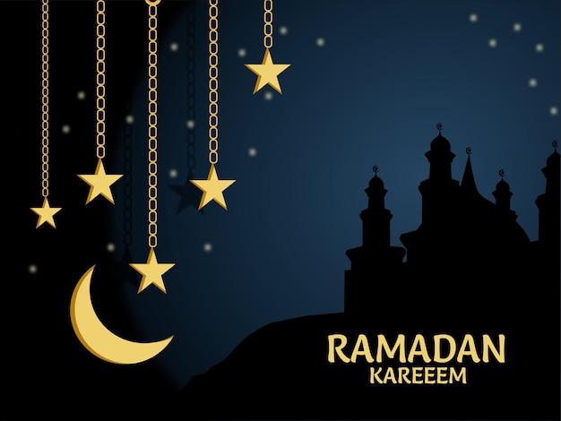 Ramadan mubarak hintergrund, moschee mit lampen und ornamenten