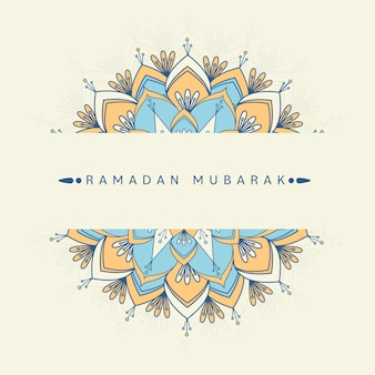 Ramadan mubarak konzept mit mandalamuster auf hellgelbem hintergrund.