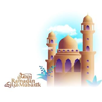 Ramadan mubarak mit islamischer grußkarte der moscheeillustrationsschablone